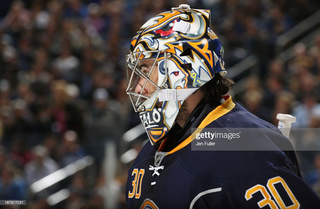 Ryan Miller #30 of the Buffalo Sabres waits for a face-off against the New York Rangers at First Niagara Center on April 19, 2013 in Buffalo, United States.