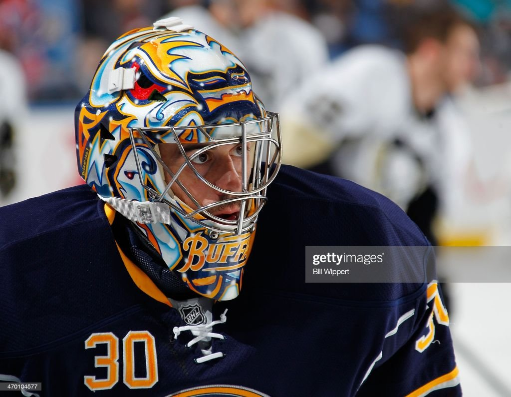 Ryan Miller #30 of the Buffalo Sabres warms up before playing the Pittsburgh Penguins on February 5, 2014 at the First Niagara Center in Buffalo, New York.
