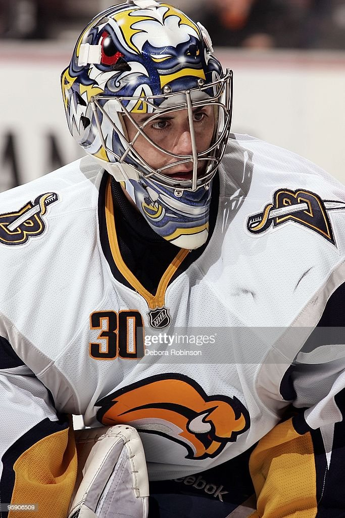 Ryan Miller #30 of the Buffalo Sabres watches for the puck in the crease during the game against the Anaheim Ducks on January 19, 2010 at Honda Center in Anaheim, California.