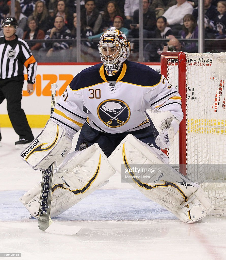 Ryan Miller #30 of the Buffalo Sabres watches the play as he protects his net during second period action in a game against the Winnipeg Jets on April 9, 2013 at the MTS Centre in Winnipeg, Manitoba, Canada.