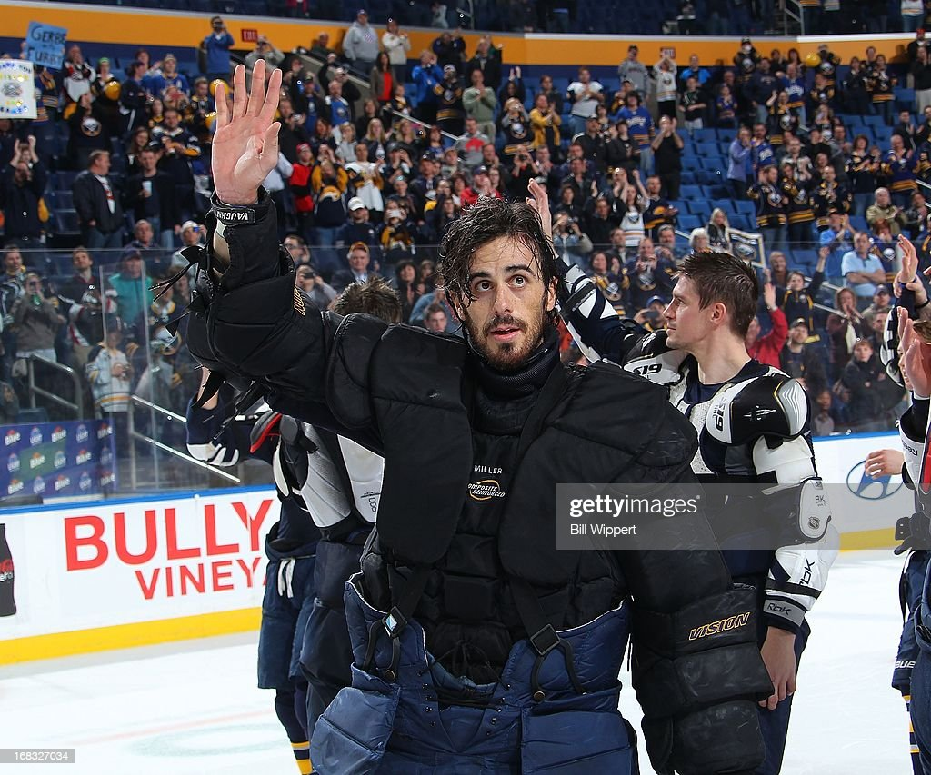 Ryan Miller #30 of the Buffalo Sabres waves to fans as he leaves the ice following their final game of the season against the New York Islanders on April 26, 2013 at the First Niagara Center in Buffalo, New York.