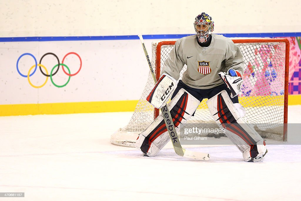 Ryan Miller #39 of the United States tends the net during their Men's Ice Hockey practice session on day thirteen of the Sochi 2014 Winter Olympics at Bolshoy Ice Dome on February 20, 2014 in Sochi, Russia.