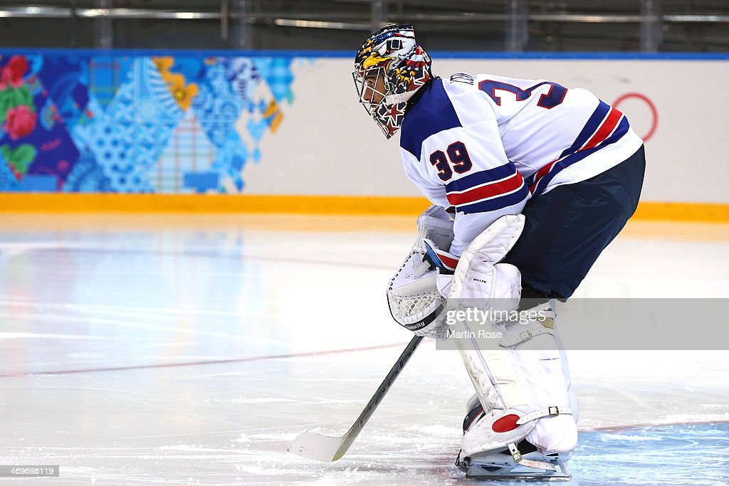 Ryan Miller #39 of the United States tends the net in the second period against Slovenia during the Men's Ice Hockey Preliminary Round Group A game on day nine of the Sochi 2014 Winter Olympics at Shayba Arena on February 16, 2014 in Sochi, Russia.