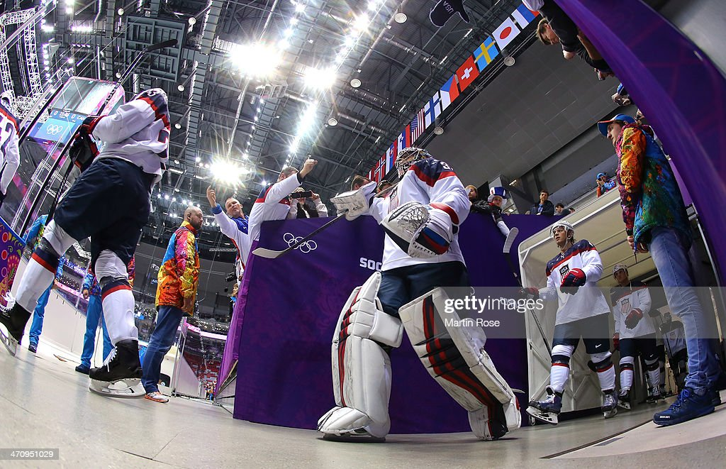 Ryan Miller #39 of the United States walks to the ice before the Men's Ice Hockey Semifinal Playoff against Canada on Day 14 of the 2014 Sochi Winter Olympics at Bolshoy Ice Dome on February 21, 2014 in Sochi, Russia.