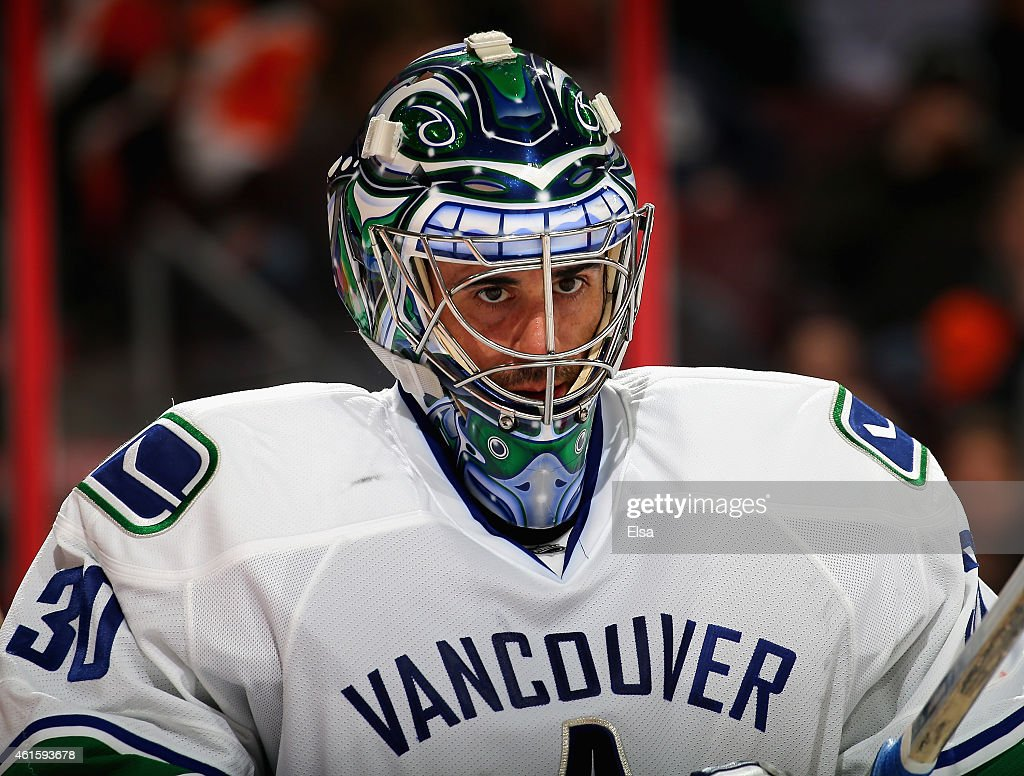 Ryan Miller of the Vancouver Canucks looks on during a stop in play in the second period against the Philadelphia Flyers on January 15 2015 at the...