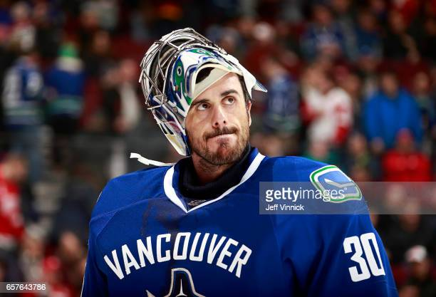 Ryan Miller of the Vancouver Canucks looks on from his crease during their NHL game against the Detroit Red Wings at Rogers Arena February 28 2017 in...