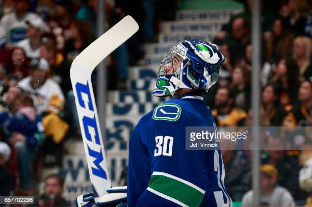 Ryan Miller of the Vancouver Canucks looks on from his crease during their NHL game against the Pittsburgh Penguins at Rogers Arena March 11 2017 in...
