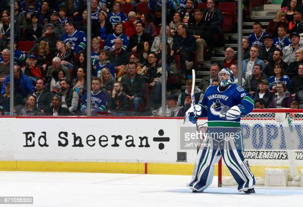 Ryan Miller of the Vancouver Canucks looks on from his crease during their NHL game against the Los Angeles Kings at Rogers Arena March 31 2017 in...