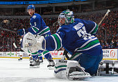 Ryan Miller of the Vancouver Canucks makes a save during their NHL game against the Boston Bruins at Rogers Arena February 13 2015 in Vancouver...
