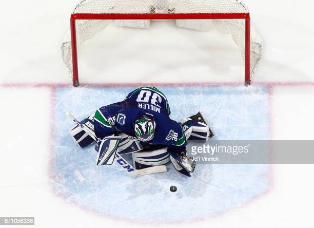 Ryan Miller of the Vancouver Canucks makes a save during their NHL game against the Los Angeles Kings at Rogers Arena March 31 2017 in Vancouver...