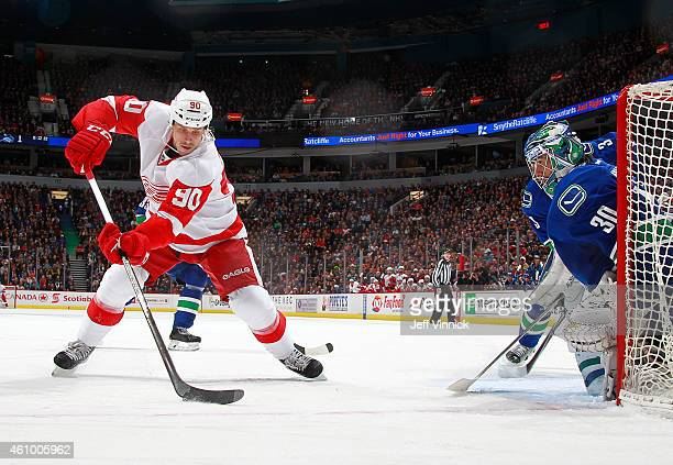 Ryan Miller of the Vancouver Canucks makes a save on Stephen Weiss of the Detroit Red Wings during their NHL game at Rogers Arena January 3 2015 in...