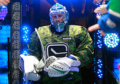 Ryan Miller of the Vancouver Canucks takes to the ice for the pregame skate wearing a military jersey on Military Night for their NHL game against...