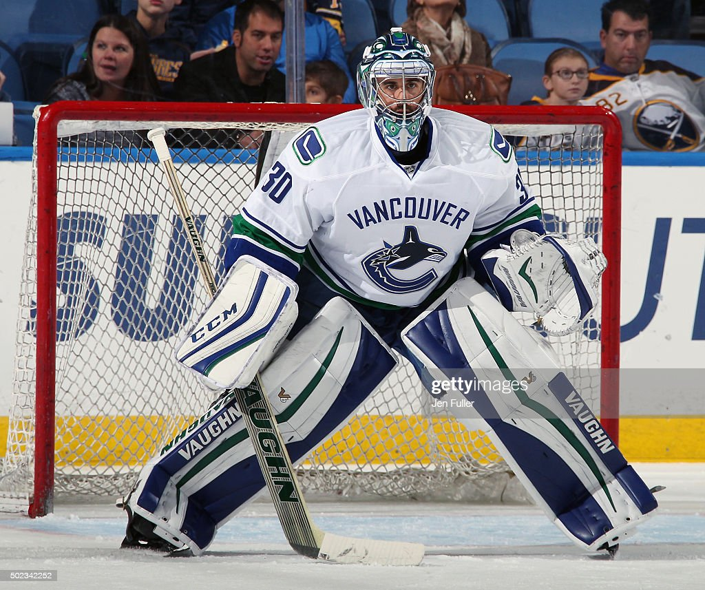 Ryan Miller of the Vancouver Canucks warms up to play the Buffalo Sabres at First Niagara Center on November 7 2015 in Buffalo New York