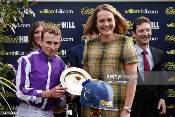 Ryan Moore after riding Capri to win The William Hill St Leger Stakes at Doncaster racecourse on September 16 2017 in Doncaster United Kingdom