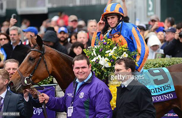 Ryan Moore celebrates after winning the Breeders' Cup Turf atop Found during day two of the Breeders' Cup at Keeneland Racecourse on October 31 2015...