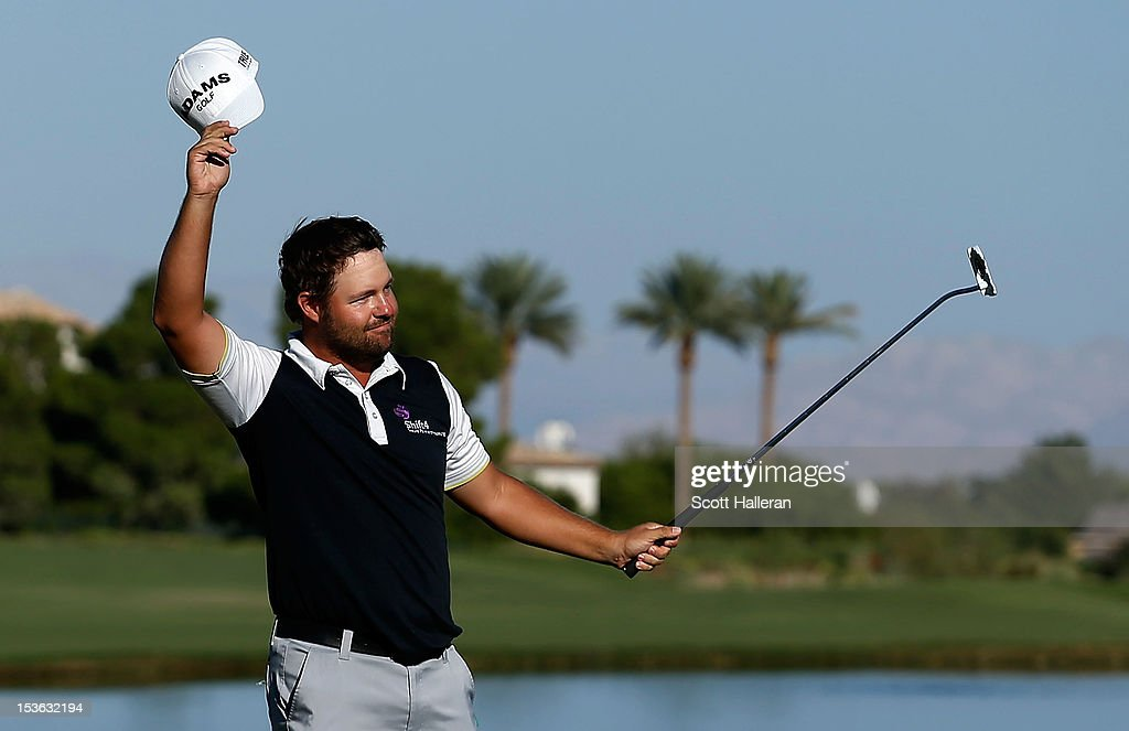 Ryan Moore celebrates on the 18th green after winning the Justin Timberlake Shriners Hospitals for Children Open at TPC Summerlin on October 7, 2012 in Las Vegas, Nevada.