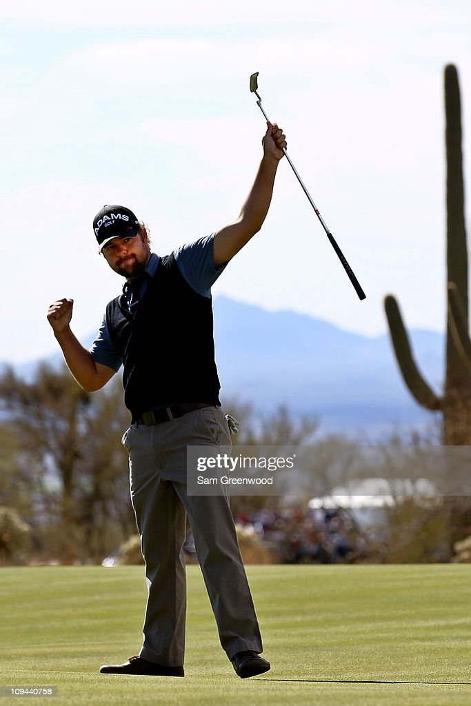 Ryan Moore celebrates winning his match over Nick Watney on the 19th hole during the third round of the Accenture Match Play Championship at the...