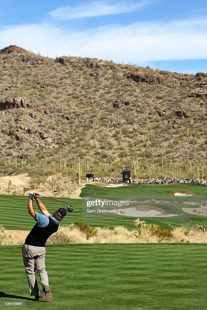 Ryan Moore hits his tee shot on the 15th hole during the third round of the Accenture Match Play Championship at the RitzCarlton Golf Club on...
