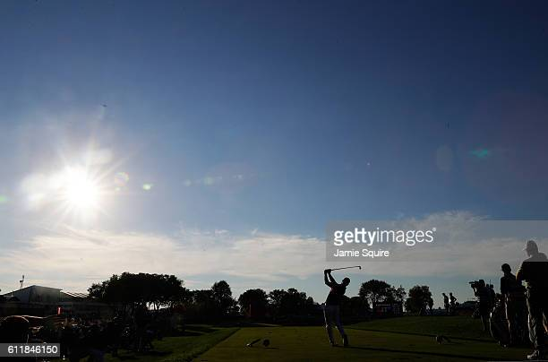 Ryan Moore of the United States hits off the 17th tee during afternoon fourball matches of the 2016 Ryder Cup at Hazeltine National Golf Club on...