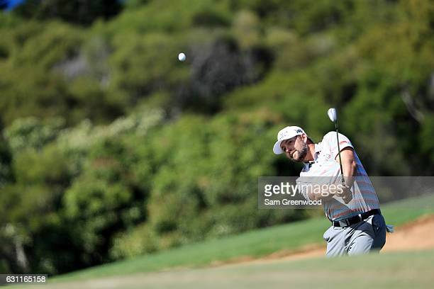 Ryan Moore of the United States plays a shot from a bunker on the ninth hole during the third round of the SBS Tournament of Champions at the...