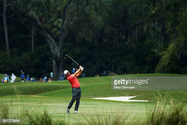 Ryan Moore of the United States plays a shot on the 11th hole during the second round of THE PLAYERS Championship at the Stadium course at TPC...