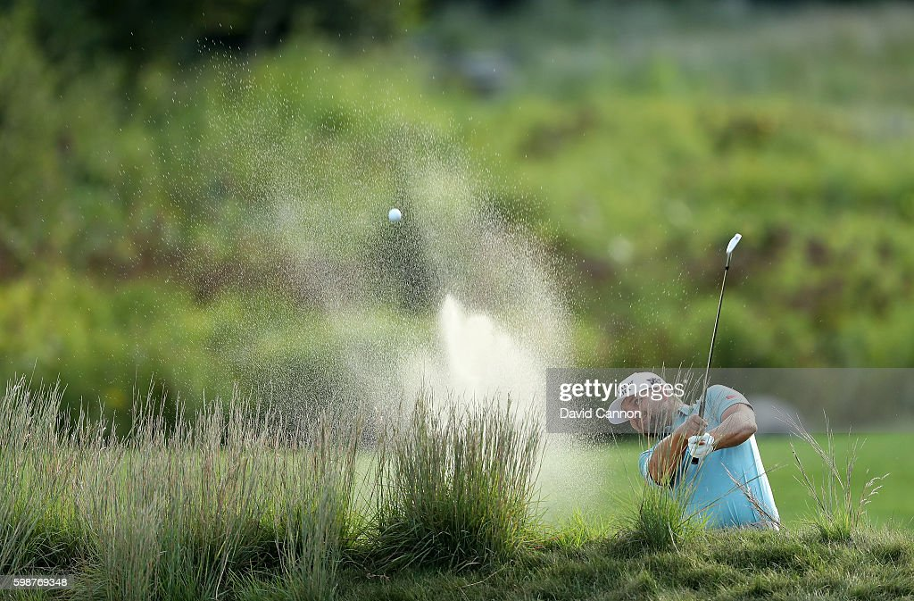 Ryan Moore of the United States plays his second shot on the 18th hole during the first round of the Deutsche Bank Championship at TPC Boston on September 2, 2016 in Norton, Massachusetts.