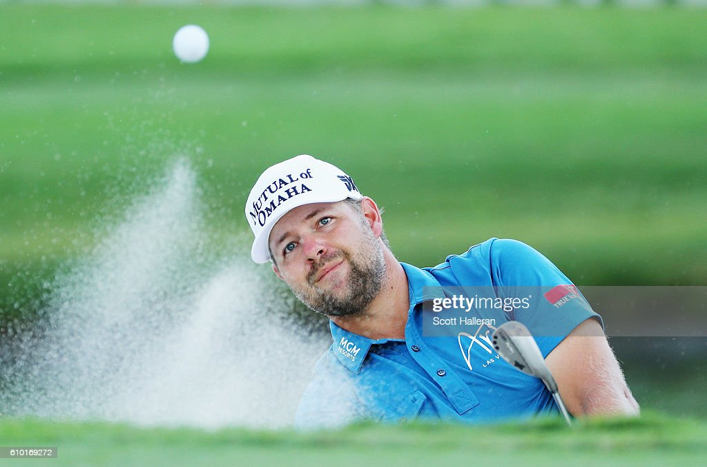 Ryan Moore plays a bunker shot on the 15th hole during the third round of the TOUR Championship at East Lake Golf Club on September 24, 2016 in Atlanta, Georgia.