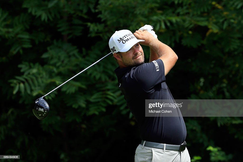 Ryan Moore plays his shot from the second tee during the final round of the John Deere Classic at TPC Deere Run on August 14 2016 in Silvis Illinois