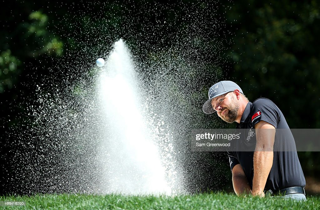 Ryan Moore plays out of a bunker on the second hole during the final round of the Valspar Championship at Innisbrook Resort Copperhead Course on March 15, 2015 in Palm Harbor, Florida.