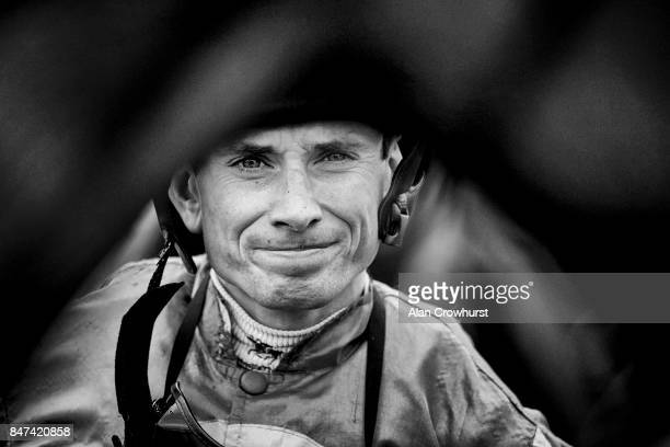 Ryan Moore poses at Doncaster racecourse on September 15 2017 in Doncaster United Kingdom