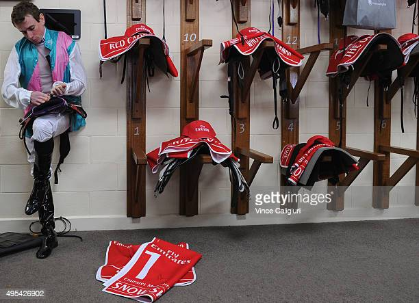 Ryan Moore prepares for race 7 the Emirates Melbourne Cup on Melbourne Cup Day at Flemington Racecourse on November 3 2015 in Melbourne Australia