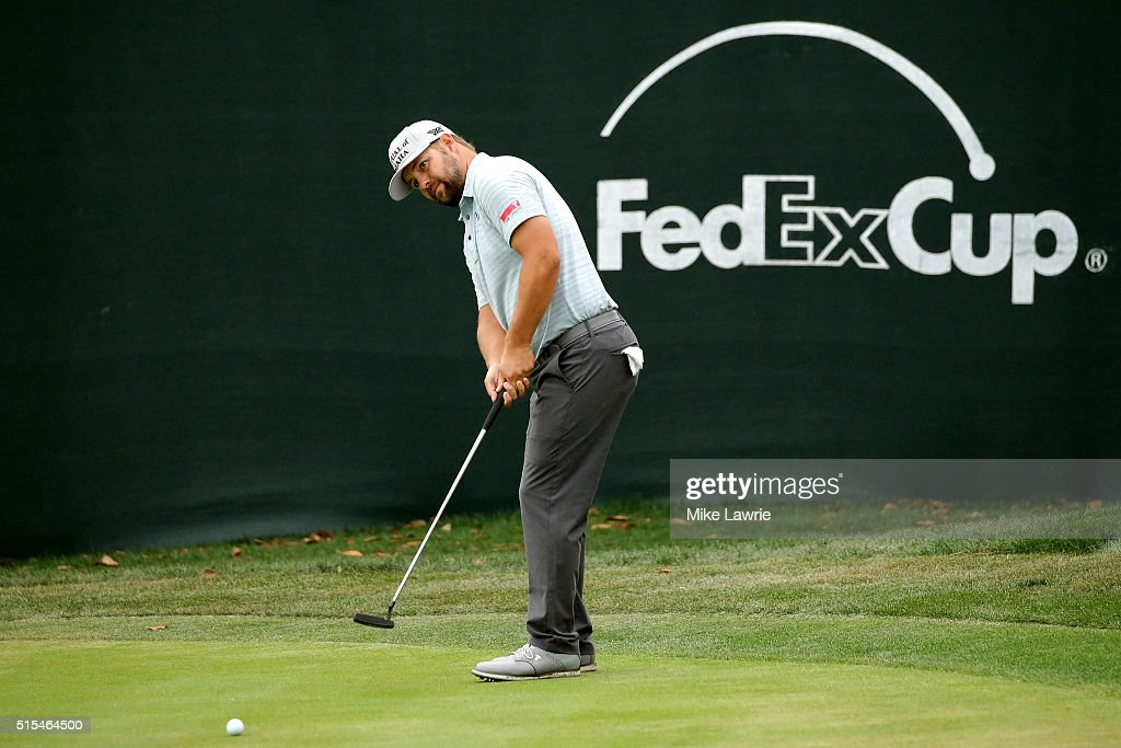 Ryan Moore putts on the 18th green during the final round of the Valspar Championship at Innisbrook Resort Copperhead Course on March 13 2016 in Palm...