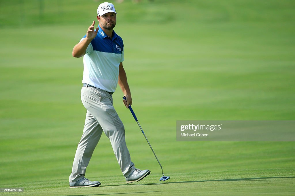 Ryan Moore reacts to his eagle on the 17th hole during the first round of the John Deere Classic at TPC Deere Run on August 11 2016 in Silvis Illinois