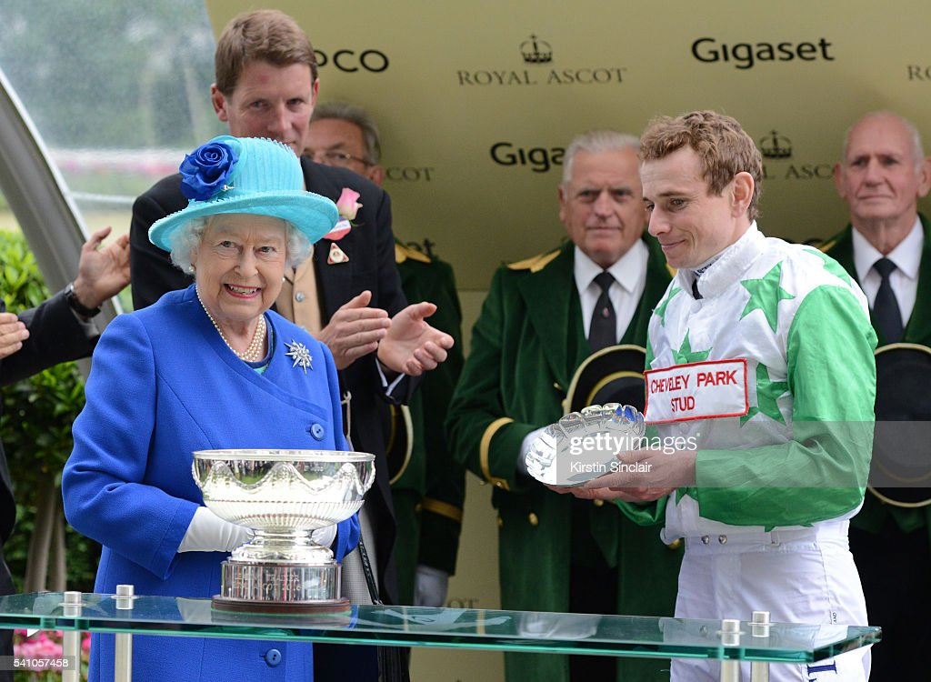 Ryan Moore receives the Royal Ascot top jockey award from Queen Elizabeth II after winning on Twilight Son on day 5 of Royal Ascot at Ascot Racecourse on June 18, 2016 in Ascot, England.