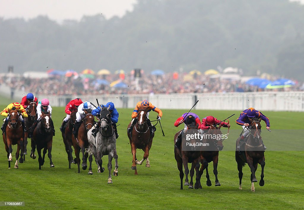 Ryan Moore rides Estimate owned by Queen Elizabeth 2nd on his way to winning The Gold Cup on Ladies' Day during day three of Royal Ascot at Ascot Racecourse on June 20, 2013 in Ascot, England.