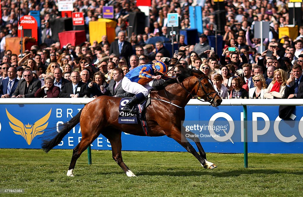 Ryan Moore rides Gleneagles to win The Quipco 2000 Guineas Stakes at Newmarket racecourse on May 02 2015 in Newmarket England