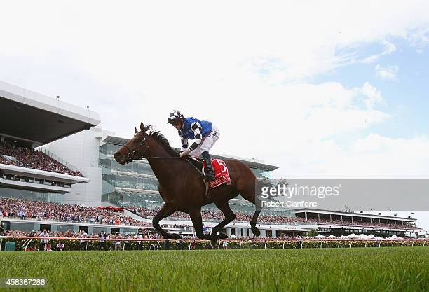 Ryan Moore rides Protectionist to win the Emirates Melbourne Cup on Melbourne Cup Day at Flemington Racecourse on November 4 2014 in Melbourne...