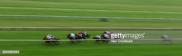 Ryan Moore riding Addeybb win The Shadwell Farm Handicap Stakes at Newmarket racecourse on September 29 2017 in Newmarket United Kingdom