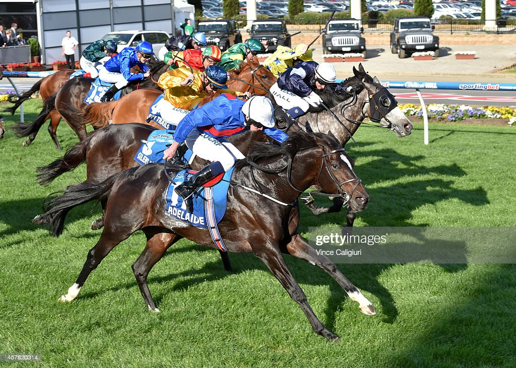 Ryan Moore riding Adelaide defeats Nicholas Hall riding Fawkner in Race 8 the Sportingbet Cox Plate during Cox Plate Day at Moonee Valley Racecourse...