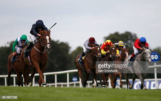 Ryan Moore riding Alice Springs win The Coolmore Fastnet Rock Matron Stakes at Leopardstown racecourse on September 10 2016 in Dublin Ireland