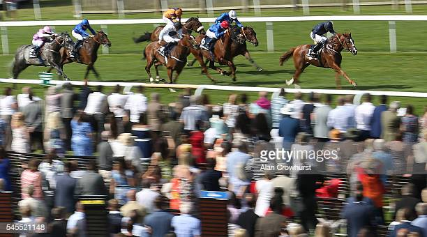 Ryan Moore riding Alice Springs wins The Tattersalls 250th Year Falmouth Stakes at Newmarket Racecourse on July 8 2016 in Newmarket England