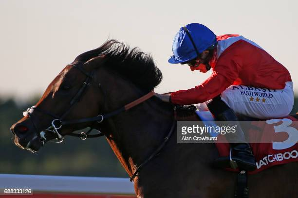Ryan Moore riding Autocratic win The Matchbook Brigadier Gerard Stakes at Sandown Park on May 25 2017 in Esher England
