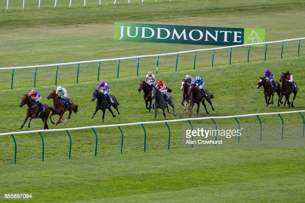 Ryan Moore riding Bye Bye Baby win The Blandford Bloodstock Maiden Filliesâ Stakes at Newmarket racecourse on September 30 2017 in Newmarket United...