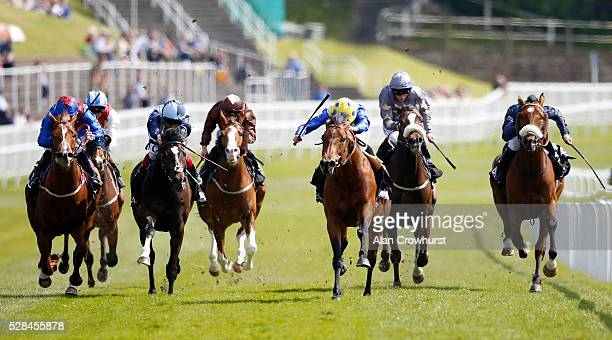 Ryan Moore riding Cannock Chase win The Betway Huxley Stakes at Chester racecourse on May 5 2016 in Chester England