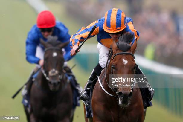 Ryan Moore riding Churchill to win The Qipco 2000 Guineas Stakes at Newmarket Racecourse on May 6 2017 in Newmarket England