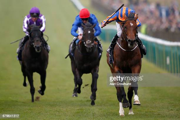 Ryan Moore riding Churchill wins The Qipco 2000 Guineas Stakes at Newmarket Racecourse on May 6 2017 in Newmarket England