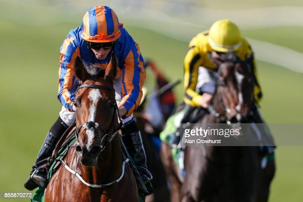 Ryan Moore riding Clemmie win The Juddmonte Cheveley Park Stakes at Newmarket racecourse on September 30 2017 in Newmarket United Kingdom