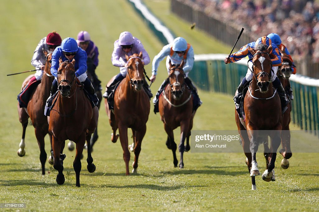 Ryan Moore riding Gleneagles win The Qipco 2000 Guineas Stakes from Territories at Newmarket racecourse on May 02 2015 in Newmarket England
