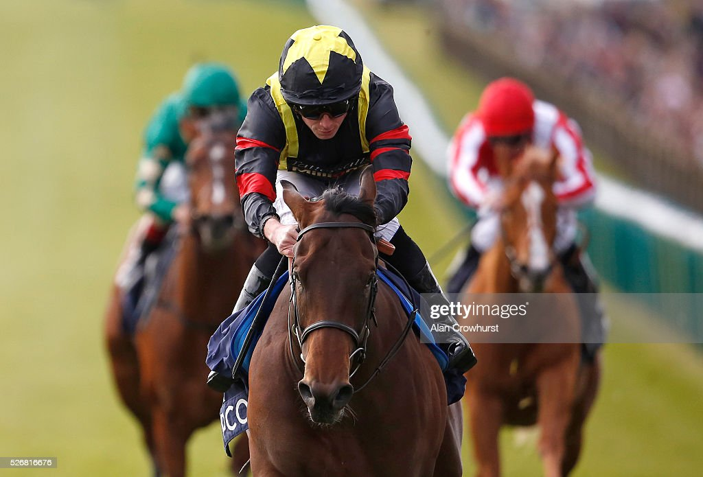<a gi-track='captionPersonalityLinkClicked' href=/galleries/search?phrase=Ryan+Moore+-+Jockey&family=editorial&specificpeople=11563713 ng-click='$event.stopPropagation()'>Ryan Moore</a> riding Global Applause win The Hot Streak Future Stars Maiden Stakes at Newmarket racecourse on May 1, 2016 in Newmarket, England.