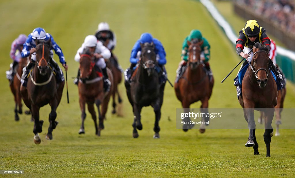 <a gi-track='captionPersonalityLinkClicked' href=/galleries/search?phrase=Ryan+Moore+-+Jockey&family=editorial&specificpeople=11563713 ng-click='$event.stopPropagation()'>Ryan Moore</a> riding Global Applause (R) win The Hot Streak Future Stars Maiden Stakes at Newmarket racecourse on May 1, 2016 in Newmarket, England.